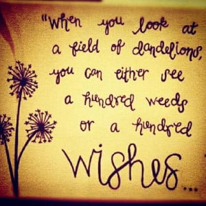 ... of dandelions you can either see a hundred weeds or a hundred wishes
