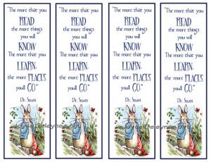 Kids Instant Printable Bookmarks, Beatrix Potter Peter Rabbit, Quote ...