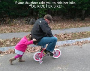 dad riding daughters bike via 12 Awesome Parents Who Are Doing It ...