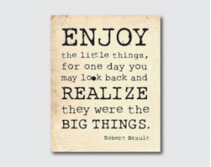 Typography Wall Art - Enjoy the little things - Inspirational Quote ...