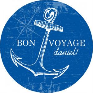 Blue And White Nautical Bon Voyage Party Invite
