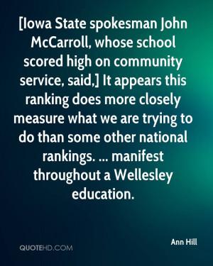 Iowa State spokesman John McCarroll, whose school scored high on ...
