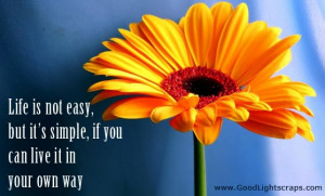 Life Is Not Easy, But It's Simple, If You Can Live It In Your Own Way.