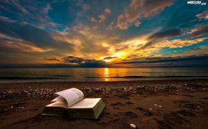 Zdjęcia, Zachód, Słońca, Plaża, Morze, Książka