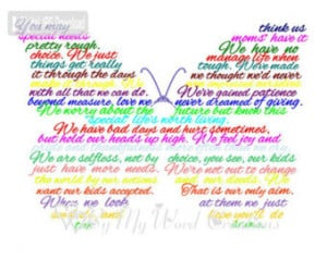 Special Needs Mom, Special Needs Mother Poem Word Art, Mother ...