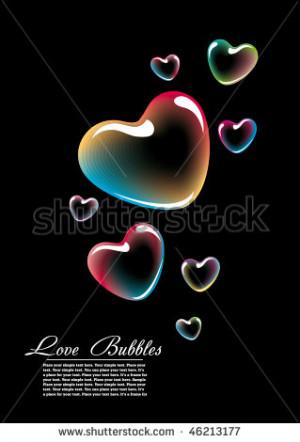 colored vector heart-shape soap bubbles over black