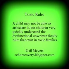 ... unwritten family rules that exist in toxic families. Gail Meyers More