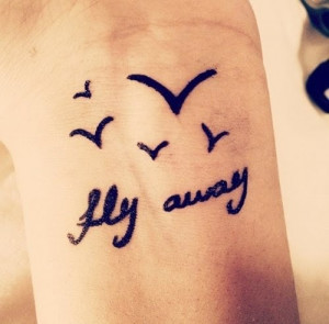 Flying Birds And Fly Away Quote Tattoo