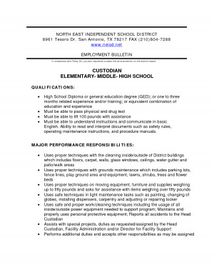 Custodian Resume Template Pdf picture