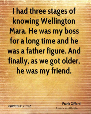 had three stages of knowing Wellington Mara. He was my boss for a ...