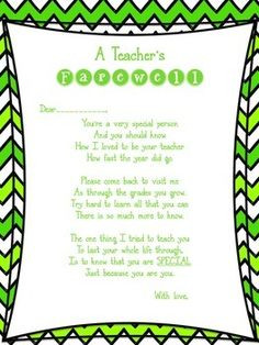teacher's farewell poem. Great for the end of year!