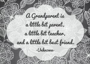 Grandparents Print Gray Floral