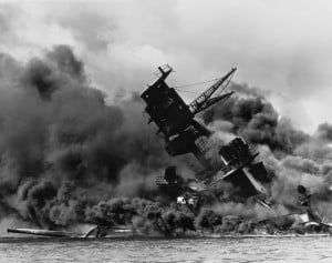 The USS Arizona after the Japanese attack on Pearl Harbor.