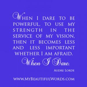 When I Dare...