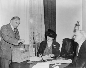 Rt. Hon. W.L. Mackenzie King voting in the plebiscite on the ...