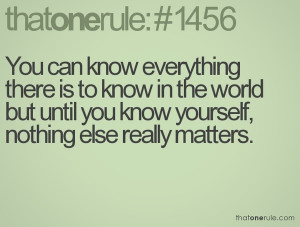 Get to know yourself. #1.