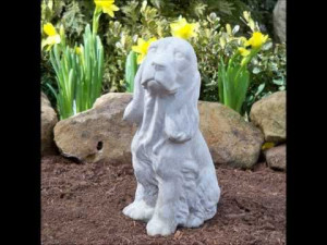 Cat and dog quotes and sayings set to garden statuary of concrete dogs ...