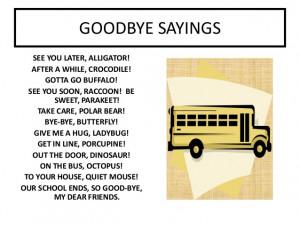Goodbye sayings worksheet