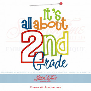6248 Sayings : It's All About 2nd Grade Applique 6x10