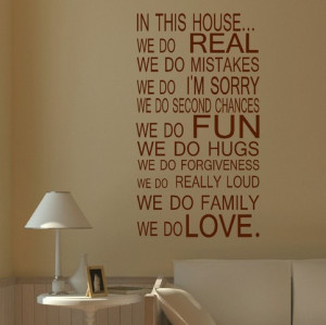 ... QUOTE HOUSE RULES FAMILY LOVE FUN ART WALL STICKER STENCIL VINYL DECAL