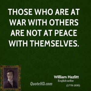 William Hazlitt War Quotes