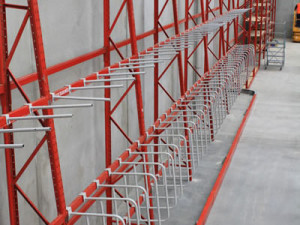 Vertical Pipe Storage Racks in Warehouse