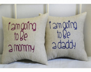 Expecting a baby, expecting parents pillow, baby shower gift , set of ...