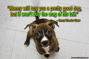 "Inspirational Quote: ""Money will buy you a pretty good dog, but it ..."