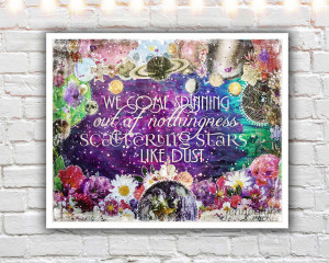 quote print celestial art mixed media collage art universe quotes