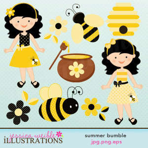 Summer Bumble Cute Digital Clipart for Card Design, Scrapbooking