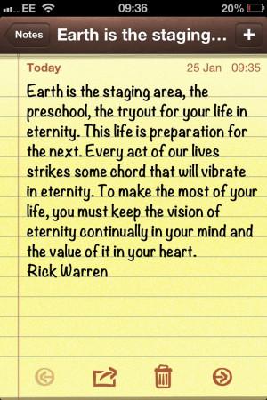 Purpose driven life! Powerful stuff...