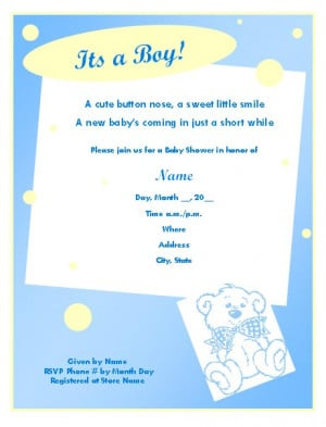 baby boy quotes for baby shower invitation