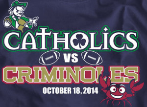 "Notre Dame Vs. Florida State T-Shirt Plays On Old ""Catholics Vs ..."