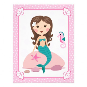 Little mermaid girl cute girly birthday invitation from Zazzle.com