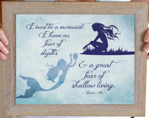 Mermaid Art Print, Anais Nin Quote, Mermaid Quote, Mermaid Nursery ...