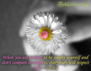 ... and don't compare or compete, everybody will respect you. ~ Lao Tzu
