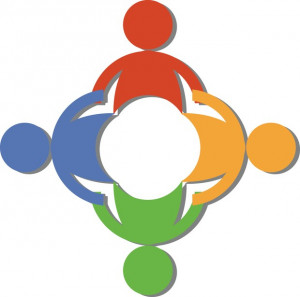 teamwork clip art of a circle of diverse people holding hands