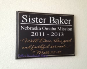 LDS Missionary gift plaque for the returned missionary - Well Done ...