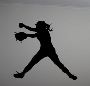 ... Quote Vinyl Fast Pitch Softball Silhouette Girls Wall Decor Decal