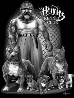 Homies T Shirt Kennel Club by David Gonzales Art New Chicano Rap Ho...