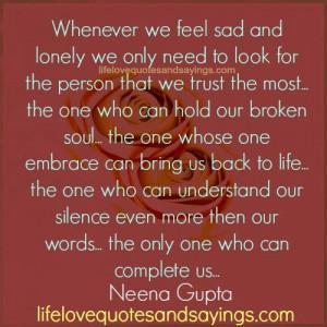 Whenever We Feel Sad..