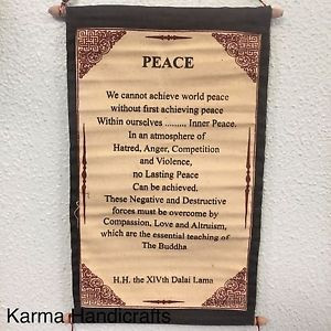 Tibetan-Yoga-Buddhist-PEACE-H-H-Dalai-Lama-Quotes-Wall-Hanging-Thanka ...