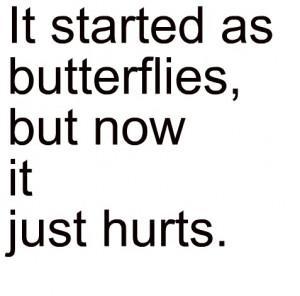 broken, butterflies, feeling, hurt, love, pain, text, typography
