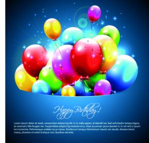 Happy birthday balloons of greeting card vector 06