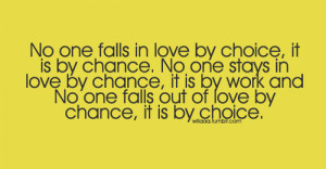 No one Falls Out Of Love By Chance, It Is By Choice