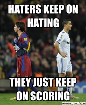 Generate a meme using Messi and Ronaldo