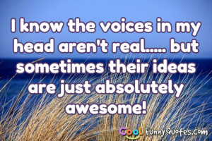 know the voices in my head aren't real..... but sometimes their ...