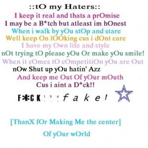 Haters Poem