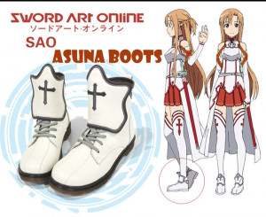 Sword Art Online Yuuki Asuna Cosplay White Boots