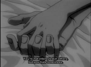 anime, loneliness, love, quote